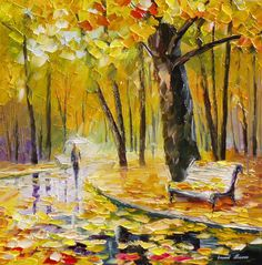 """""""Golden leaves"""" by Leonid Afremov ___________________________ Click on the image to buy this painting ___________________________ #art #painting #afremov #wallart #walldecor #fineart #beautiful #homedecor #design"""
