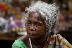 Old Lady in Pavement of Kolkata, India