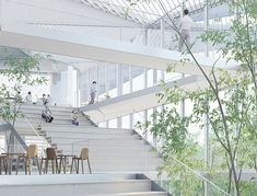 Garden-like Ecole Polytechnique Learning Center is bathed in s...