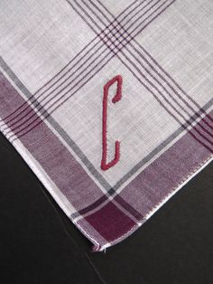 Vintage Mens Handkerchief Hanky - Embroidered Monogram Letter Initial C - Burgundy White Stripes - Mens Accessories Fashions - Gift by shabbyshopgirls on Etsy