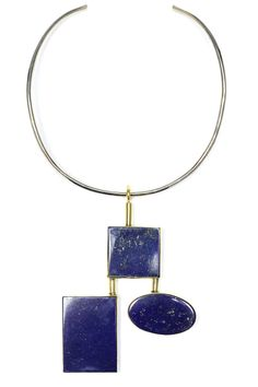 For the first time Anndra Neen introduced color and stones into their collection: the centerpiece being this lapis Calder-esque collar.   - HarpersBAZAAR.com