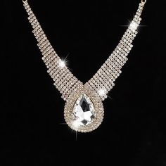 large drop sparkling full rhinestone crystal necklace for women
