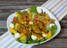 Bunter Curry-Hähnchen Salat mit Mango und Mozzarella - Katha-kocht!