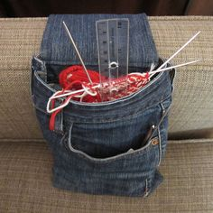Iron Craft Challenge #14 - Armrest Project Bag , Denim Craft, recycled jeans, upcycled jeans , storage, decor, diy, craft project, cool crafts for teens