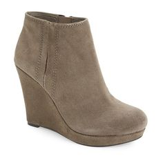 """Jessica Simpson 'Calwell' Wedge Bootie, 4 1/4"""" heel ($90) ❤ liked on Polyvore featuring shoes, boots, ankle booties, ankle boots, tile grey suede, platform wedge booties, platform wedge bootie, grey wedge booties, wedge bootie and gray booties"""