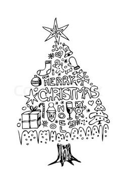 Download This Christmas Tree Digital Stamp for Your Collection ...