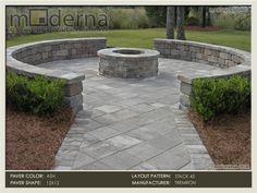 Using Rectangular Cobblestones For A Circle Patio Paver Patio And Seating Wall Arounding A Fire Backyard Patio Designsbackyard