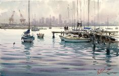 Before they were any good: Joseph Zbukvic – Bad Watercolor Art Watercolor Water, Watercolor Drawing, Watercolor Landscape, Watercolor Paintings, Watercolours, Joseph Zbukvic, Sailboat Painting, Great Paintings, Artist Painting