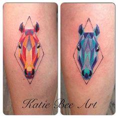 Bee!! Matching geometric horse head tattoos by @katiebeeart! | Tattoos ...