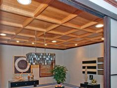Oak in Natural finish. Evoba Wood Ceiling System.