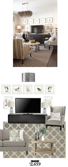 A cozy family room in tones of gray and taupe designed by @sarahrdesign and recreated by @audreycdyer for $2659
