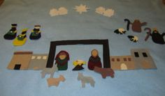 Felt Nativity Advent Calendar: put one piece of the nativity up each day and read the corresponding portion of the Christmas story. Includes felt patterns and daily scriptures for 25 day advent. Preschool Christmas, Christmas Nativity, Christmas Crafts For Kids, Christmas Activities, Christmas Projects, Christmas Traditions, Holiday Crafts, Christmas Ideas, Nativity Advent Calendar