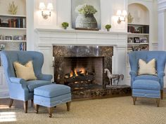 Love the blue chairs in this traditional-style living room. http://www.hgtv.com/decorating-basics/10-fall-inspired-fireplaces/pictures/page-9.html?soc=pinterest