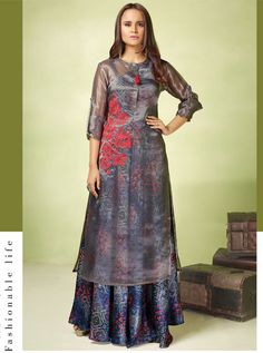 Blue Satin Readymade Long Gown With Jacket 147637 Indian Gowns, Pakistani Dresses, Indian Outfits, Bollywood Dress, Bollywood Fashion, Ethnic Fashion, Indian Fashion, Indowestern Gowns, Gown With Jacket