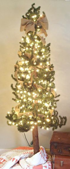 primitive tree wrapped in burlap with a burlap bow - @Tammy Tarng Priest Turpin here's a new look for our pencil pines