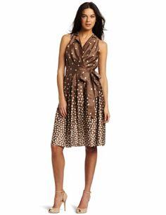Anne Klein Women's Going Dotty Sleeveless Wrap Dress, Bronze/Ivory, 2 Anne Klein,http://www.amazon.com/dp/B0073ESF8U/ref=cm_sw_r_pi_dp_j.z6sb13WZA9E27A