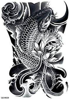 1 pc Fashion Waterproof Temporary Tattoo Full Back Body Art Tattoo Stickers On Back Japanese Koi Fish Tattoo, Koi Fish Drawing, Japanese Dragon Tattoos, Japanese Tattoo Designs, Japanese Sleeve Tattoos, Pez Koi Tattoo, Koi Tattoo Sleeve, Tattoo Fish, Dragon Koi Tattoo Design