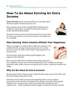 How-To Go About Earning An Extraincome  by Steven Logreira