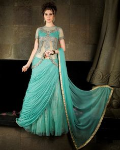 Sky blue embroidered lehenga style anarkali suit with embellished jacket   1. Grey poly georgette, net jacquard embroidered double f anarkali suit2. Golden thread sequins embroidery on jacket3. Comes with matching bottom and dupatta4. Can be stitched upto size 44 inches