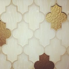 Inspiration for my planter/iron headboard. Rust brown spray paint then hold foil the leaves. Hang each piece separately Tile Patterns, Textures Patterns, Arabesque Tile, Moroccan Theme, Style Tile, Gold Pattern, Dream Decor, Decoration, Mosaic