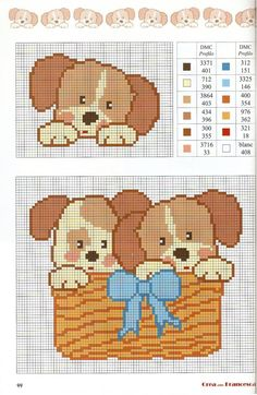 Puppies in a basket graph pattern Cross Stitch For Kids, Cross Stitch Baby, Cross Stitch Animals, Cross Stitch Charts, Cross Stitch Designs, Cross Stitch Patterns, Baby Boy Knitting Patterns, Kids Patterns, Cross Stitching