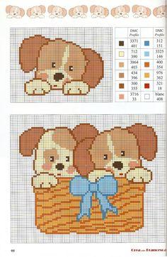Puppies in a basket graph pattern Baby Boy Knitting Patterns, Baby Cross Stitch Patterns, Cross Stitch For Kids, Cross Stitch Cards, Cross Stitch Baby, Kids Patterns, Cross Stitch Animals, Cross Stitch Designs, Cross Stitching