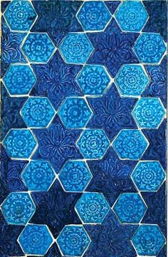A pattern such as this required only two kinds of molds to make a beautiful and interesting design, one of the most popular of Islamic tessellations.
