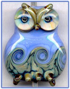 Periwinkle Owl II Focal Handmade Glass Lampwork Bead Handmade SRA W79 :) ♥♥♥