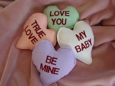 Conversational heart pillows!  So cute.