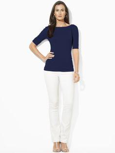 Elbow-Sleeve Boatneck Shirt - Lauren Petite Long-Sleeve - RalphLauren.com