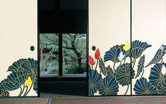 京都(Kyoto)青蓮院の襖絵 木村英輝さん作. Fusuma Paintings of lotus flowers by Kimura Hideki: