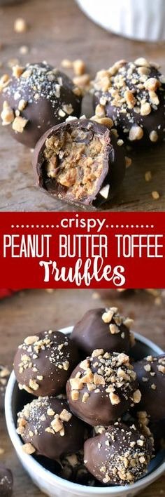 Crispy Peanut Butter Toffee Truffles are a perfect addition to your holiday treats. These light, crispy, melt-in-your-mouth peanut butter toffee truffles are coated in rich milk chocolate and topped with crushed toffee bits. Cereal Recipes, Candy Recipes, Sweet Recipes, Baking Recipes, Cookie Recipes, Dessert Recipes, Brownie Recipes, Paleo Dessert, Baking Ideas