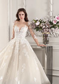 weddingdress prinzessin demetrios 2019 starlight bridal long sleeves sweetheart neckline heavily embellished bodice princess ball gown a line wedding dress backless v back chapel train zv -- Demetrios 2019 Wedding Dresses High Street Wedding Dresses, Wedding Dresses With Flowers, Wedding Dress Sizes, Gorgeous Wedding Dress, Bridal Wedding Dresses, Dress Flower, Bridesmaid Dress Colors, Princess Ball Gowns, Marie