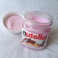 Pink Nutella - Is this white chocolate and strawberries? This looks good!