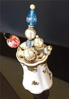 Vintage Hat Pin Holder Mikado Signed Hand Painted Antique Collectible Decor Vanity Accessories