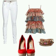 This would be a cute outfit for 4th of July.