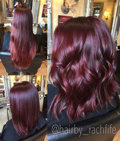 Bright red violet mermaid hair long bob haircut   Hair by Rachel Fife @ Sara Fraraccio Salon in Akron, Ohio