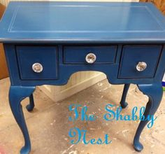 Cute little table done with Miss Mustard seed paint in Flow blue