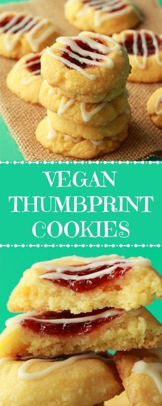 Soft and buttery vegan thumbprint cookies with a raspberry jam center and almond glaze. These perfectly sweet melt-in-your-mouth shortbread cookie delights are so easy and fun to make and simply gorgeous! Healthy Vegan Dessert, Cake Vegan, Vegan Dessert Recipes, Vegan Treats, Vegan Foods, Vegan Dishes, Dairy Free Recipes, Cookies Vegan, Vegan Baking Recipes