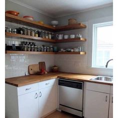 More openness! I love shelves instead of full cabinets! #tinyhouse #tinykitchen #tinyhousekitchen #tinyhouseideas #smallhouse #smallhouseideas by tinyvegantraveler