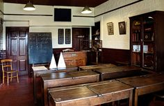 This photo from Leicestershire, England is titled 'Victorian school room'.