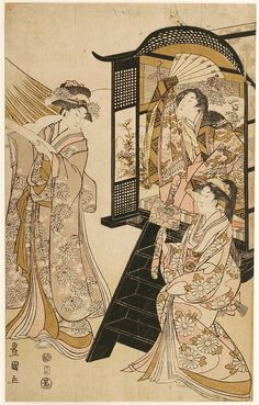 Utagawa Toyokuni I (1769-1825) Woman with Attendants, early 1800's.  by Toshidama-Gallery, via Flickr