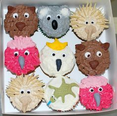 Ideas For Cupcakes Decoration Animals Food Party Animals, Animal Party, Australian Party, Australian Food, Australia Animals, Australia Day, Wedding Cakes With Cupcakes, Fun Cupcakes, Possum Magic