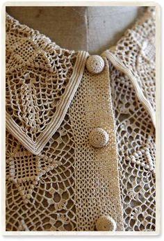 antique crochet lace blouse detail