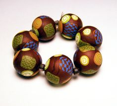Handmade Beads Polymer Clay Set of Seven by SweetchildJewelry, $11.50