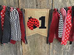 Ladybug Birthday High Chair Highchair Banner by RockyTopCharm