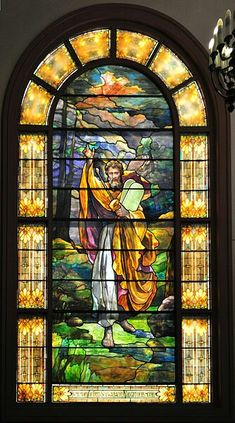 English: This stained glass window depicting Moses with the Tablets, now on the western side of the Schoenfeld-Gardner Chapel of Temple De Hirsch Sinai, Seattle, Washington.