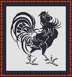 Rooster on White Aida Free Cross Stitch Pattern. Would be cute for the kitchen.