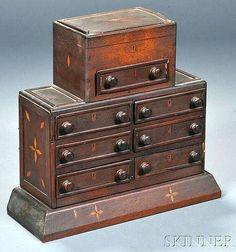 Inlaid Mahogany Sewing Box, 19th century, small box with lift top.