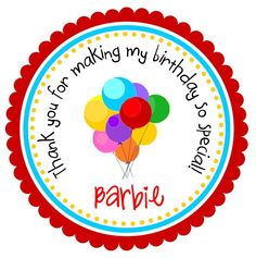 Birthday Balloon Stickers, Personalized Labels, Favor Tags,  kids, Birthday  - set of 12